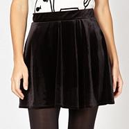 Designer black velour skater skirt