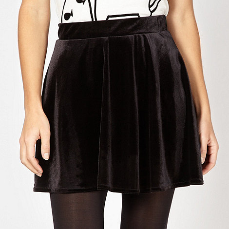 H! by Henry Holland - Designer black velour skater skirt