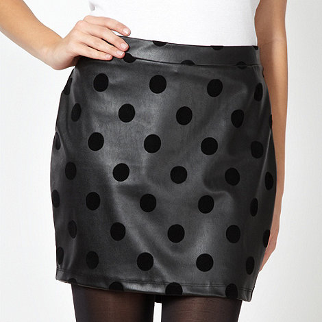 H! by Henry Holland - Designer black faux leather spotted mini skirt