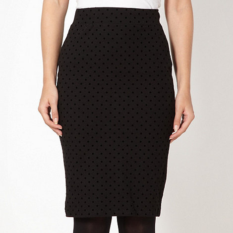 H! by Henry Holland - Designer black flocked polka dot pencil skirt