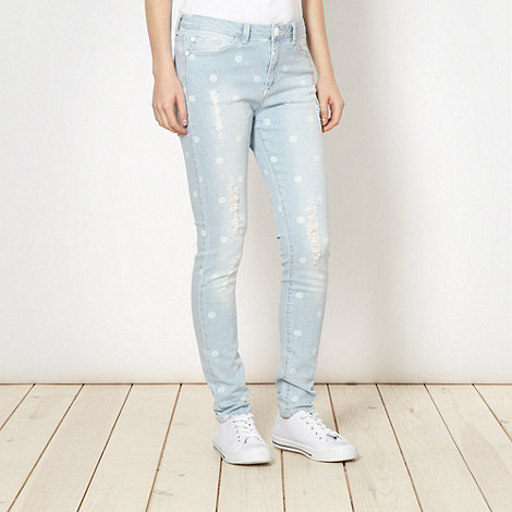 H! by Henry Holland - Designer light blue spotted jeans