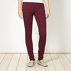 H! by Henry Holland - Designer maroon spotted jeans