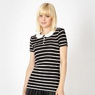 Designer black scallop striped top