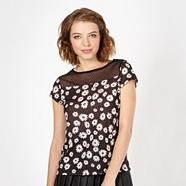 Designer black daisy pattern mesh top