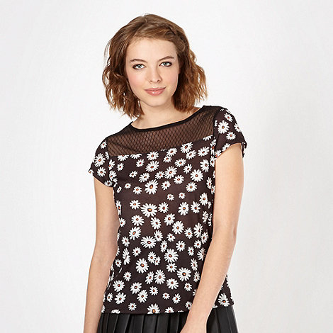 H! by Henry Holland - Designer black daisy pattern mesh shell top