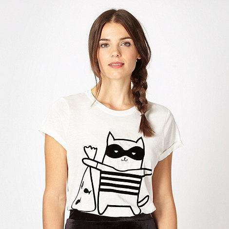 H! by Henry Holland - Designer white +Cat Burglar+ printed t-shirt