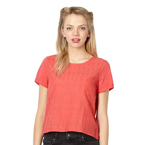 H! by Henry Holland - Designer peach heart broderie top