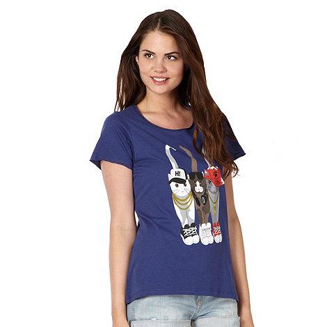 H! by Henry Holland - Designer navy +Gangsta Cats+ t-shirt