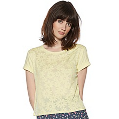 H! by Henry Holland - Designer yellow burnout daisy t-shirt