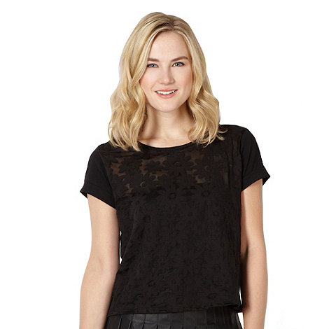 H! by Henry Holland - Designer black burnout daisy t-shirt