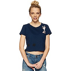 H! by Henry Holland - Designer blue giraffe print crop top