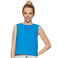 H! by Henry Holland - Designer blue broidery shell tie-back top