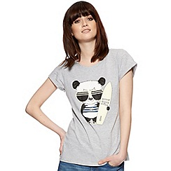 H! by Henry Holland - Designer grey surfing panda print t-shirt