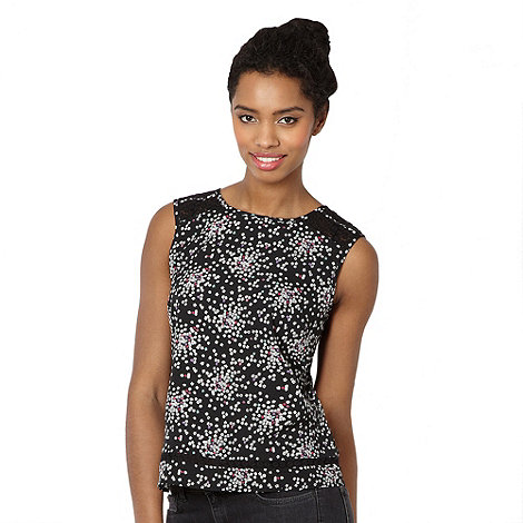 H! by Henry Holland - Designer black scattered flower crepe shell top
