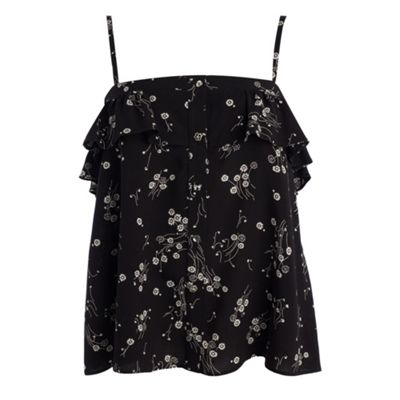 Black vintage ditsy print camisole