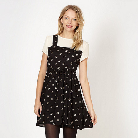 H! by Henry Holland - Designer black 2-in-1 floral pinafore dress and top