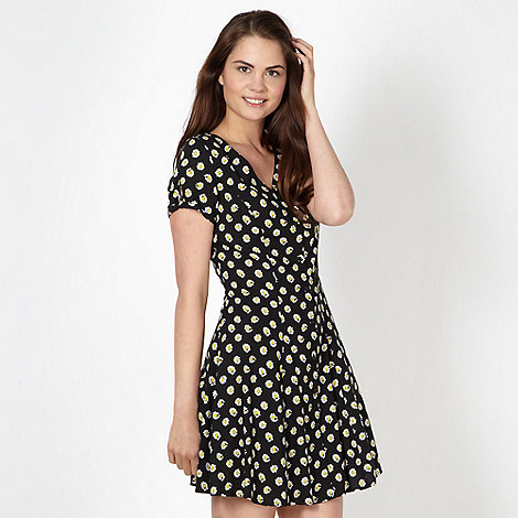 H! by Henry Holland - Designer black daisy print dress