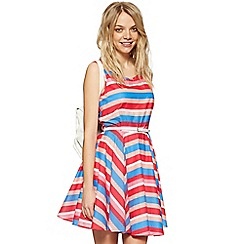 H! by Henry Holland - Designer dark pink striped skater dress
