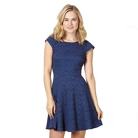 H! by Henry Holland - Designer blue jacquard floral dress
