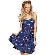 Designer blue flamingo print prom dress