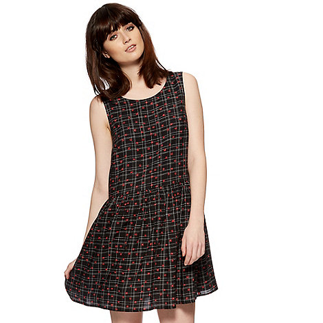 H! by Henry Holland - Designer black flower check print smock dress