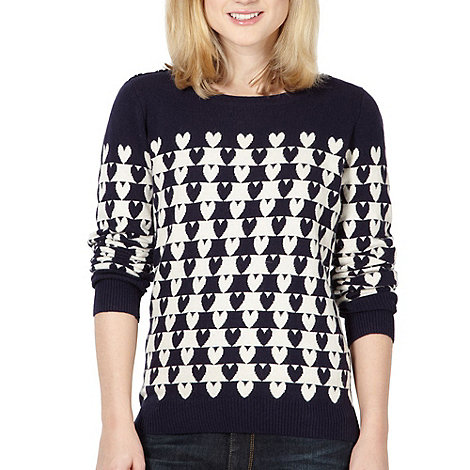 H! by Henry Holland - Designer navy heart jumper