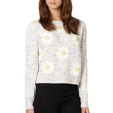 H! by Henry Holland - Designer cream space dye daisy jumper