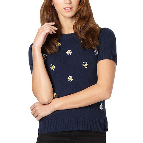 H! by Henry Holland - Designer navy flower embellished jumper
