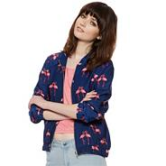 Designer dark blue flamingo print bomber jacket