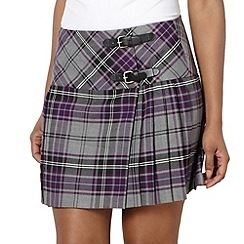 H! by Henry Holland - Designer purple pleat checked kilt