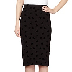 H! by Henry Holland - Black flocked heart pencil skirt