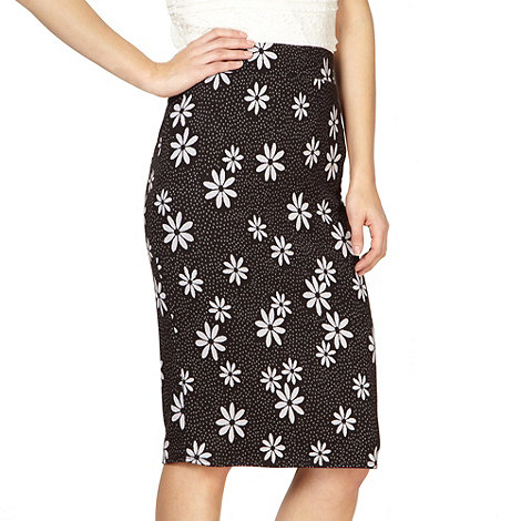 H! by Henry Holland - Designer black daisy jacquard pencil skirt