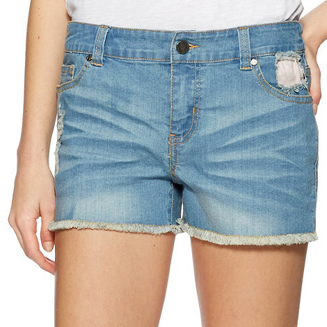 H! by Henry Holland - Designer blue rip & repair denim shorts