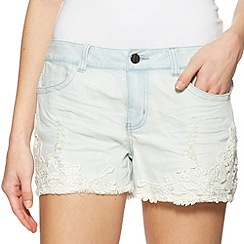 H! by Henry Holland - Designer blue lace trim denim shorts