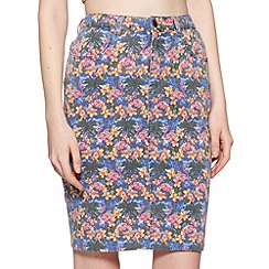 H! by Henry Holland - Designer flamingo print denim skirt
