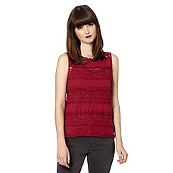 H! by Henry Holland - Designer dark red pleated lace top