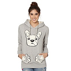 H! by Henry Holland - Designer grey fleece pug hoodie