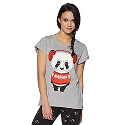 H! by Henry Holland - Designer grey earmuff panda print t-shirt