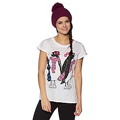 H! by Henry Holland - White snowboarding Christmas penguins t-shirt