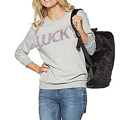 H! by Henry Holland - Grey Lucky slogan jumper