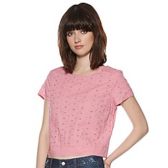 H! by Henry Holland - Designer pink heart embroidery top
