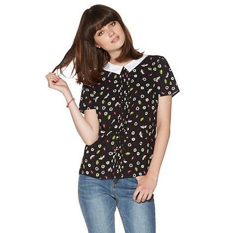 H! by Henry Holland - Black peony print collared top