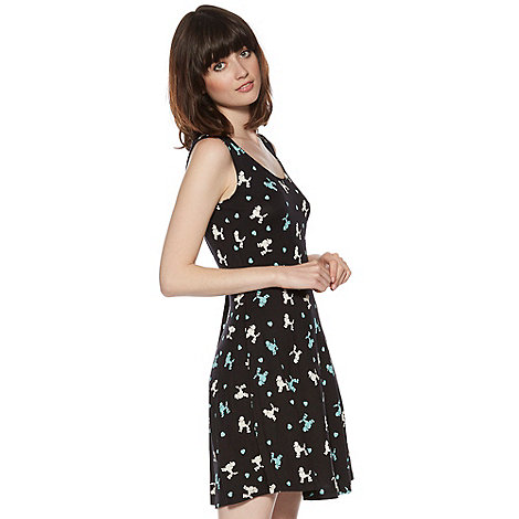 H! by Henry Holland - Designer black poodle print skater dress