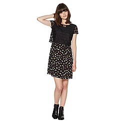 H! by Henry Holland - Black 2 in 1 peony print dress