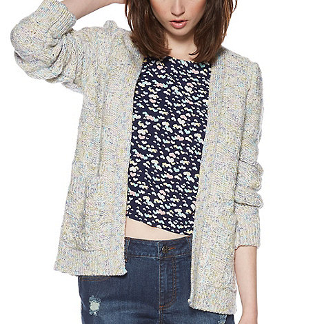 H! by Henry Holland - Designer multi colour knitted stitch detail cardigan
