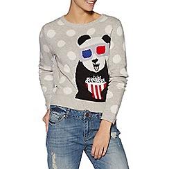 H! by Henry Holland - Designer grey spotted popcorn panda jumper