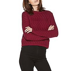 H! by Henry Holland - Raspberry tuck stitch crop jumper
