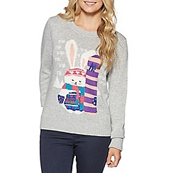H! by Henry Holland - Grey snowboarding rabbit knit jumper