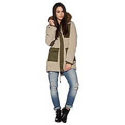 H! by Henry Holland - Designer khaki teddy parka jacket
