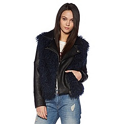 H! by Henry Holland - Designer black PU and  faux fur jacket